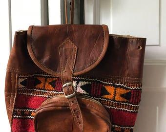 Vintage Leather Woven Backpack/ Tribal Stitched Knapsack