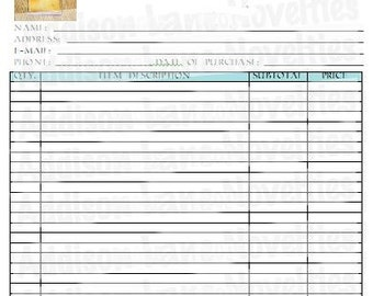 """CUSTOM order form, 3 ply forms, order book, custom receipt book, sales receipt, custom invoice, photography form, 8.5"""" x 11"""" size, full size"""