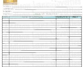Custom receipt book | Etsy
