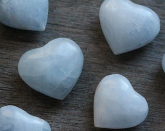 Blue Calcite Heart Shaped Stone H54