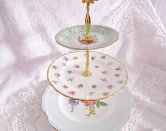 Vintage 3 tier english china mis-matched plates for wedding table decor for desserts, favors or as a table centrepiece - excellent condition