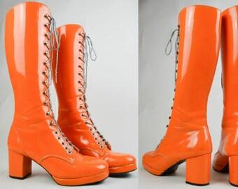 90s Does 60s Orange Patent Lace Up Knee High Go Go Mod Boots UK 6 / US 8.5 / EU 39