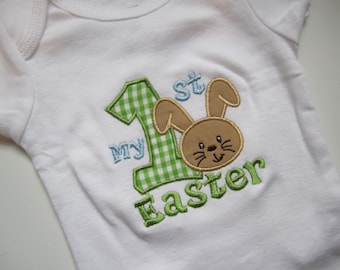green gingham My 1st Easter bunny shirt/ personalized Easter bodysuit/ gingham Easter