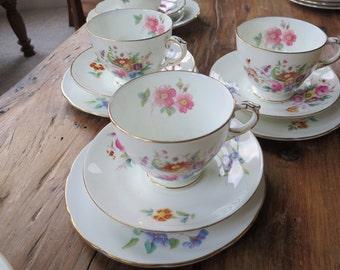 Coalport/Crescent vintage china tea cup trio
