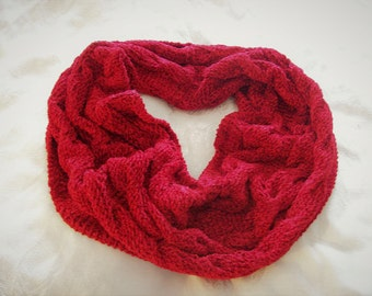 Handknit Chenille Cabled Cowl