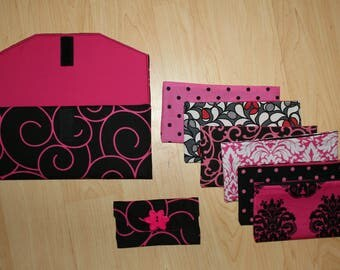 Pink & Black Swirls Fabric Cash Envelope System with Embroidered Labels Wallet