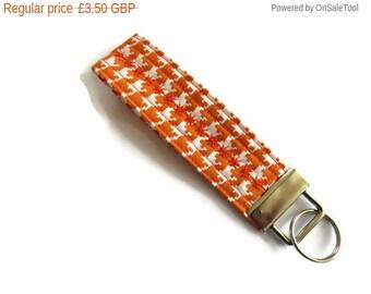 On Sale 1 x Orange  Wristlet Key Fob/Key Ring - Houndstooth Design Fabric Key Fob - Key Ring