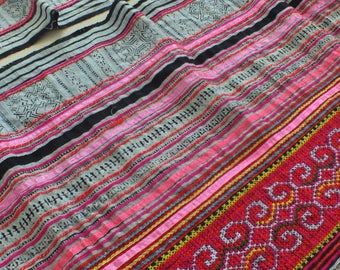 Handwoven batik hemp, Hmong  Vintage textiles and fabric- Upholstery-table runner from Thailand
