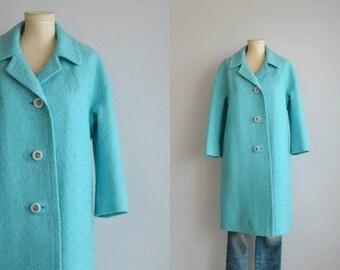 Vintage 60s Mod Wool Coat / 1960s Mod Turquoise Blue Textured Boucle Cocoon Coat