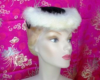Vintage 1950s Pillbox Hat . Cocktail or Suit . Black Velvet with White Faux Fur Brim . collectible Eva Mae Mode label . Sassy Winter Chic .