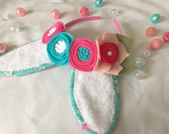 Easter Bunny Ear Headband with Flowers in Pink and Blue