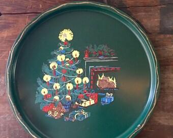 Metal Christmas Tray, Christmas Tree, Fireplace on Deep Green Background, A Bit Rusty