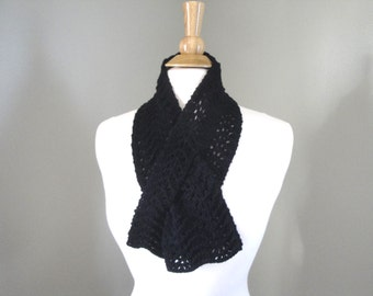 Small Keyhole Scarf, Black Cashmere, Short Neck Scarf, Pull Through, Lacy Wavy Design