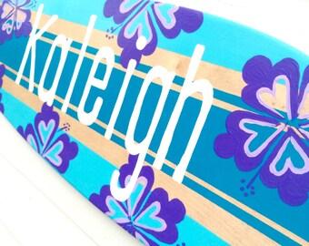 Surfboard Wall Art, Teen Girl Room Decor, 36 inch Personalized Surf Decor