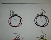 """ON SALE Native American Made 1-1/2"""" Beaded Hoop Earrings"""