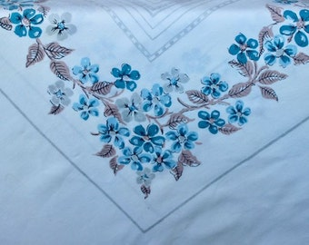 Vintage Linen Tablecloth Cotton Blue Brown Floral Table Cloth Printed Mid Century Flowers Large