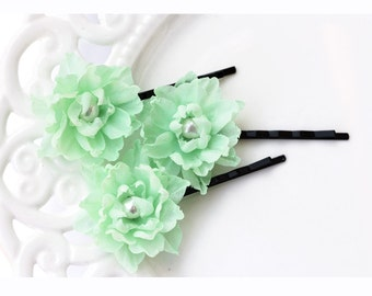 717_Mint silk flowers bobby pins, Delicate bobby pins, Green flower pin, Flowers hair accessory, Bobby pins flowers, Pearl hair accessory