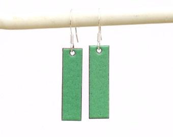 Green enamel earrings - bright green earrings - rectangular earrings - geometric jewellery gift - green dangle earrings - green rectangles