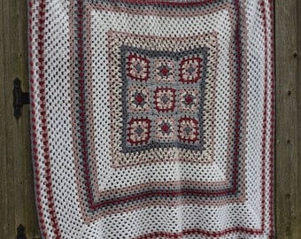 Hand Crochet Soft Afghan or Bed Coverlet in Large Square Motif, done in Granny Square - White, Mauve, Dk Red, Lt Grey, Dk Grey borders - N15