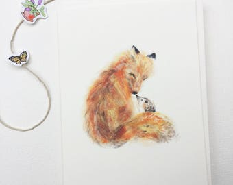 Fox and Hedgie - A2 Greeting Card - Scottie and Rooh