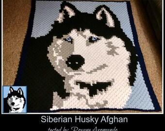 Siberian Husky Afghan, C2C Graph, Crochet Pattern