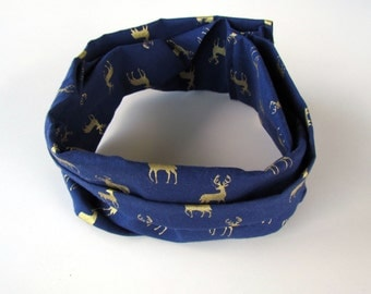 Toddler Infinity Scarf || Navy Cotton Scarf || Navy & Gold Deer Infinity Scarf || Child Accessory Scarf