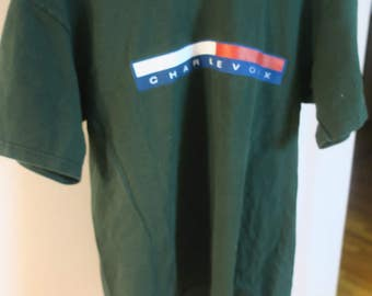 "T SHIRT .. Charlevoix Northern Michigan city "" Up North"" sz L 100% Ultra Cotton Green T"