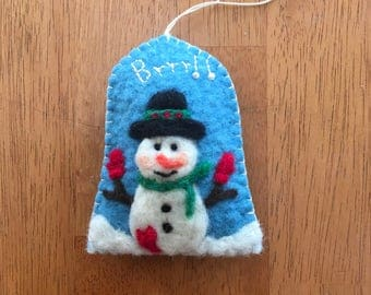 Wonderful Needle Felted Snowman Christmas Ornament on Arch Shape