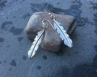 Sterling silver jewelry,  Hand cut sterling silver feather earrings
