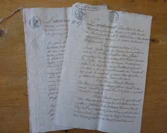 1816 & 1830 2 Antique Handwritten French Legal Paper Documents, 7 pages, Looped Cursive Handwriting, Italics
