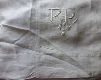 Antique French Pure Linen Bed Sheet Double with Centre Seam and Monogram R P Circa 1910-20