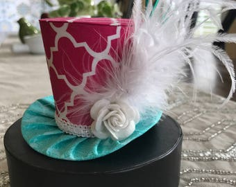 Pink and Aqua Mini Top Hat.   Great for Birthday Parties, Photo Prop, Bachelorette Party, Girls Night Out and Much More...