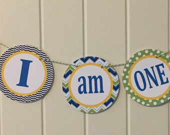 SEA LIFE Theme First Birthday Highchair Banner - I Am One - Party Packs Available