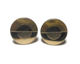 SALE Swank round cuff links, gold Art Deco cuffs with stripes and solid pattern, wedding groom groomsman
