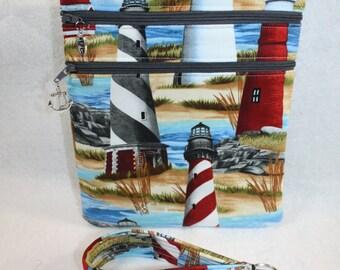 Lighthouse Theme Crossbody Handbag w/ adj Strap