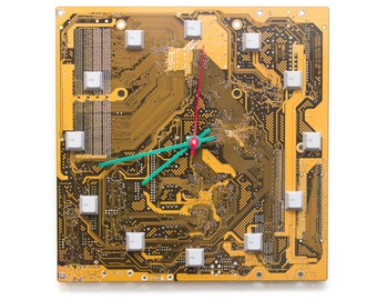 Geeky Wall clock - recycled Computer clock- gifts for him - yellow / olive green circuit board wall clock - c3208