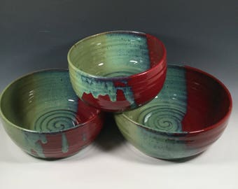 Mixing Bowl Set of 3 - Nesting Kitchen Mix Bowls - Brick Red  Jade Green -Dining and Entertaining - Serving - Ceramics - Pottery - Stoneware