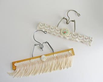 Vintage Hangers Upcycled Decorated Lace Vintage Buttons Fringe Burlap YOUR CHOICE