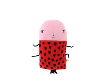 Layla the Ladybug, soft knitted toy, red