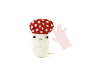 Mushroom Baby Rattle - soft knitted baby toy, new baby gift, baby shower gift