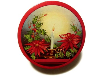 Candlelight Poinsettias and Holly Christmas Tin Mid Century Holiday Cookie Fruitcake Container Kitchen Decor