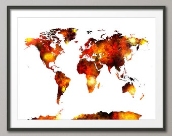 Watercolor Map of the World Map, Art Print (2834)