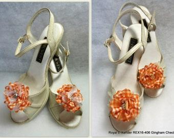 Shoe Embellishments, Gingham Check Shoe Clips, Flower Shoe Clips, REX16-406