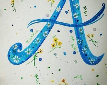 The Letter A, original painting size A4 (297mm x 210mm)