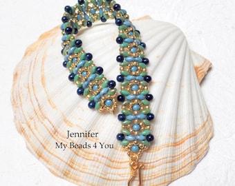SuperDuo Beaded Bracelet, Beadwork Bracelet,Cuff Bracelet,Seed Bead Bracelet, Beadwoven Embellished Bracelet,Blue bracelet,SuperDuo Beads