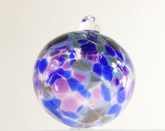 Christmas Ornament, Glass Ornament, Blown Glass Ornament, Purple and Blue, Witches Ball, Multicolor Glass