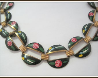 Guilloche Black  Rose Choker - vintage Enamel  50's -  Pink Rose Guilloche - Art Deco Style