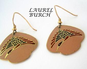 Laurel Burch Earrings  - Vintage Pierced Wire - Duck in Flight -  Laurel Burch -