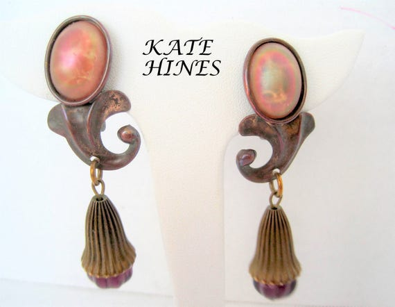 Kate Hines Earrings - Modernist Mixed Metal - Glass Base - Clip Ons - Designer Earrings