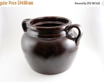 25% OFF SALE 60's Vintage Bean Pot, Crock Pot, Bean Pot, Mid-Century Cookware, Mid-Century Pottery